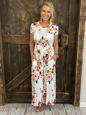 Short Sleeve Floral Maxi Dress with Pockets