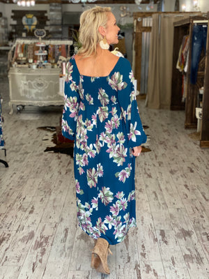 Smocked Floral On/ Off Shoulder Maxi Dress