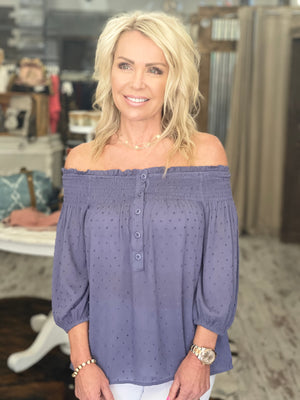 Button Down Swiss Dot Off Shoulder Top