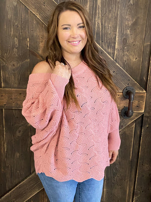 Scalloped Designed Dolman Sleeve Sweater