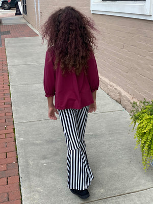 Solid Burgundy Top & Striped Bell Bottom Set