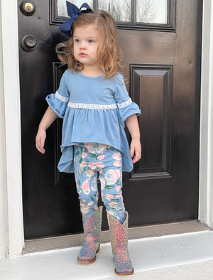 Floral Legging & Tunic Top Set in Blue