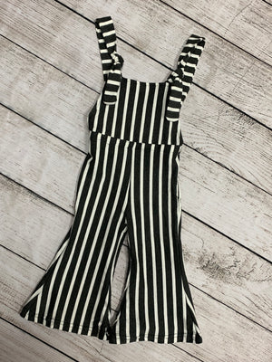 Bell Bottom Jumpsuit in Dark Grey Stripe