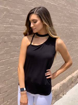 Strappy Neckline Tank Top in Black