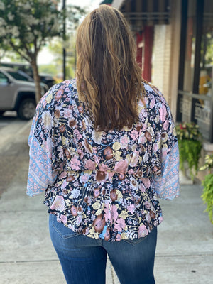Floral Mix Print Peplum Top