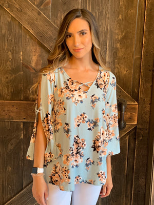 Floral Caged Neck Top with Bell Sleeves