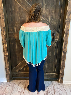 Gauze Off Shoulder Top with Tassel Hem
