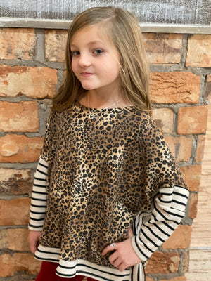Leopard & Striped Dolman Sleeve Poncho Top