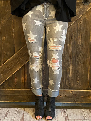 Distressed Star Printed Denim Skinny Jeans with Raw Hem