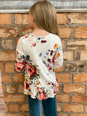 Floral Tunic Top with Ruffle Hem in White