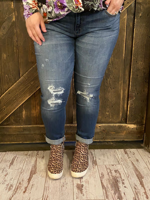 Cuffed Hidden Patch Boyfriend Jeans - Curvy