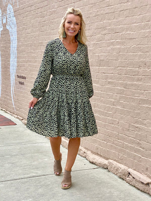 Leopard Print Smocked Waist Dress