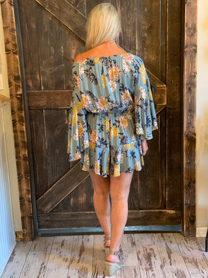 Floral On/ Off Shoulder Romper with Bell Sleeves
