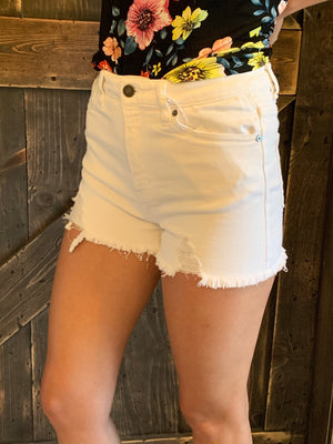 Distressed High Rise Shorts in White