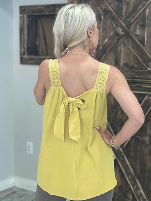 Crochet Trim Tank Top with Back Tie