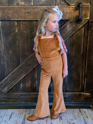 Velvet Bell Bottom Jumpsuit in Camel