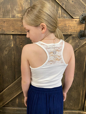 Solid Racerback Tank with Lace Detail in White