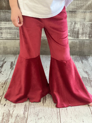 Velvet Bell Bottom Pants in Burgundy