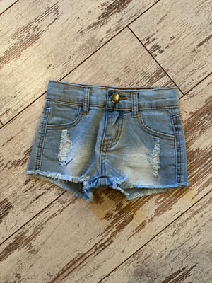 Distressed Denim Shorts with Raw Hem in Light Wash