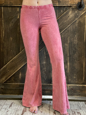 Mineral Wash Bell Bottom Pants in Pink