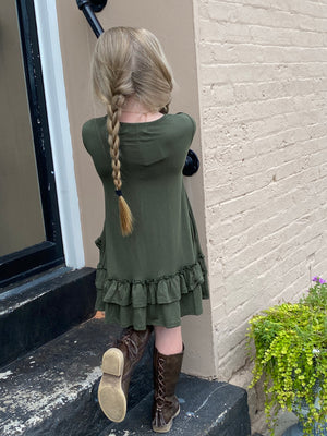 Double Ruffle Dress with Pockets in Olive