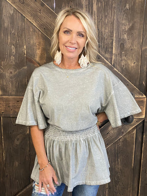 Washed Smocked Waist Tunic Top