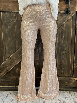 Sequin Bell Bottom Pants in Rose Gold