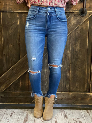 High Waist Double Button Distressed Skinny Jeans