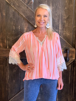 Striped Surplice Top with Lace Trim