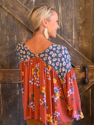 Floral Mixed Print Top with Bishop Sleeves