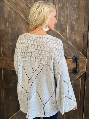 Textured Bell Sleeve Sweater