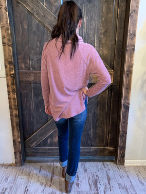 Cowl Neck Top with Button Trim in Mauve