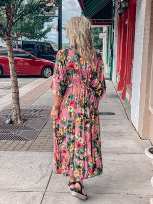 Tropical Print Tiered Maxi Dress