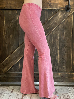 Washed Bell Bottom Flare Pants in Pink