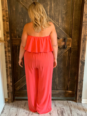 Ruffled Tube Top Jumpsuit with Waist Tie