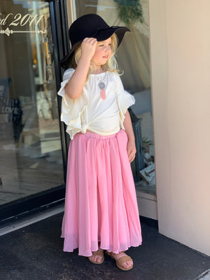 Chiffon Maxi Skirt in Pink