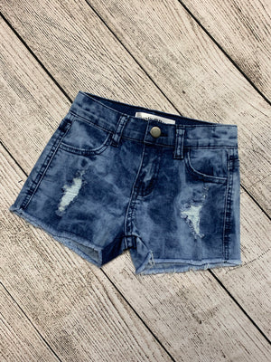 Distressed Denim Shorts with Raw Hem
