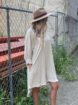 Puff Sleeve Dress with High Low Raw Hem