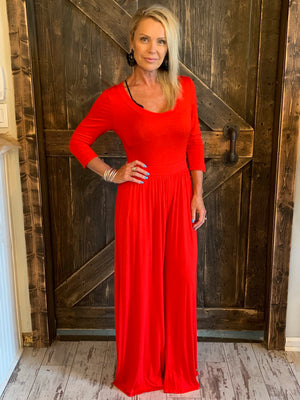 3/4 Length Sleeve Wide Leg Jumpsuit in Red