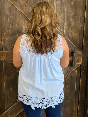 Textured Crochet Trim Tank Top