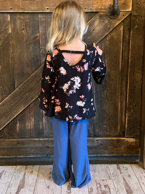 Black Floral Top with Bell Sleeves