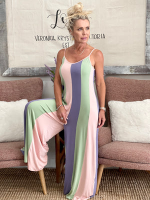 Striped Wide Leg Jumpsuit in Lilac Mix