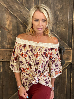 Floral Off Shoulder Gauze Top with Lace Detail
