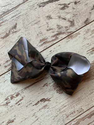 Camo Print French Knot Bow Clip