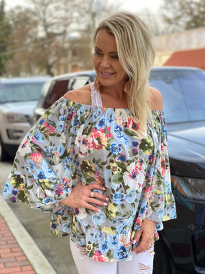 Ruffled Floral Off Shoulder Top with Wide Sleeves
