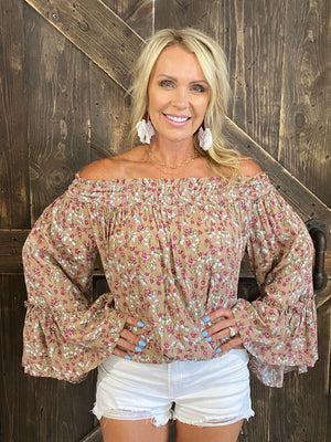Floral Smocked Off Shoulder Top with Bell Sleeves