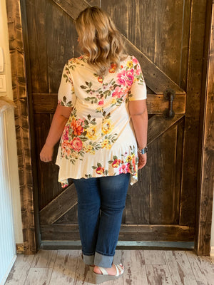 Asymmetrical Floral Top in Ivory