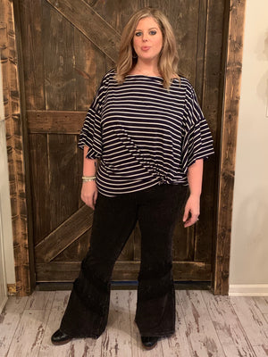 Striped On/ Off Shoulder Top with Front Knot