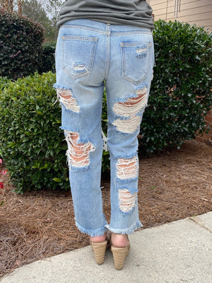 Destroyed Raw Hem Boyfriend Jeans