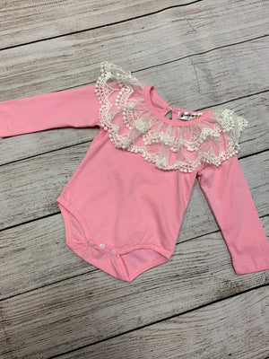 Long Sleeve Romper with Lace Ruffle